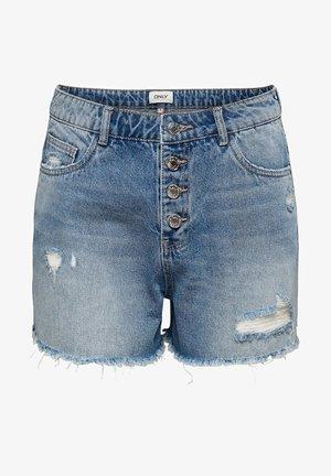 ONLPHINE LIFE DESTROY - Denim shorts - light blue denim
