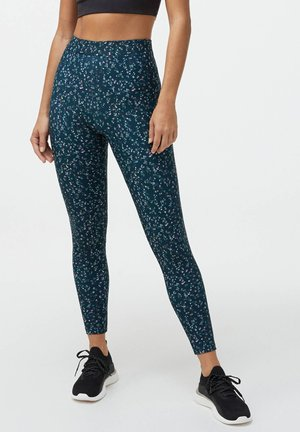 WITH A DITSY FLORAL PRINT ON A DARK BACKGROUND - Leggings - Trousers - dark blue