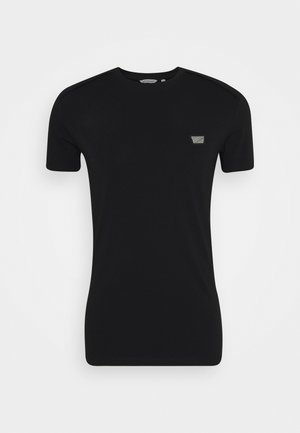 SPORT ROUND NECK COLLAR WITH PLAQUETTE ON CHEST - Basic T-shirt - black