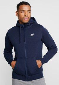 Nike Sportswear - CLUB FULL ZIP HOODIE - Zip-up hoodie - obsidian/white - 0