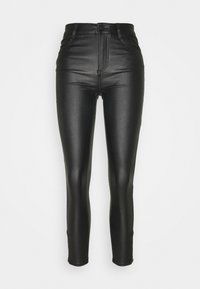Vila - VICOMMIT COATED ZIP PANT - Trousers - black - 0