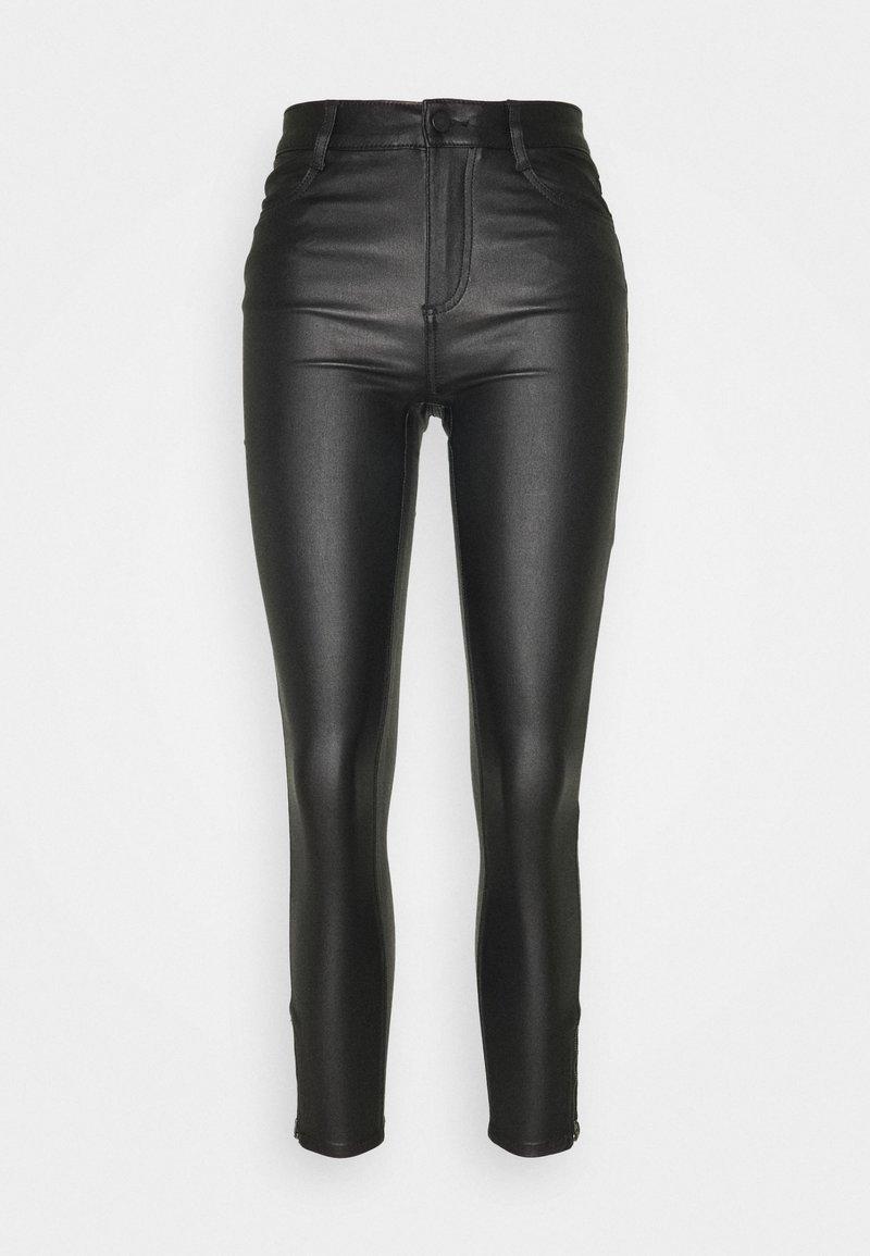 Vila - VICOMMIT COATED ZIP PANT - Trousers - black