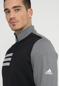adidas Golf - 3 STRIPES COMPETITION 1/4 ZIP - Långärmad tröja - black heather/black - 4