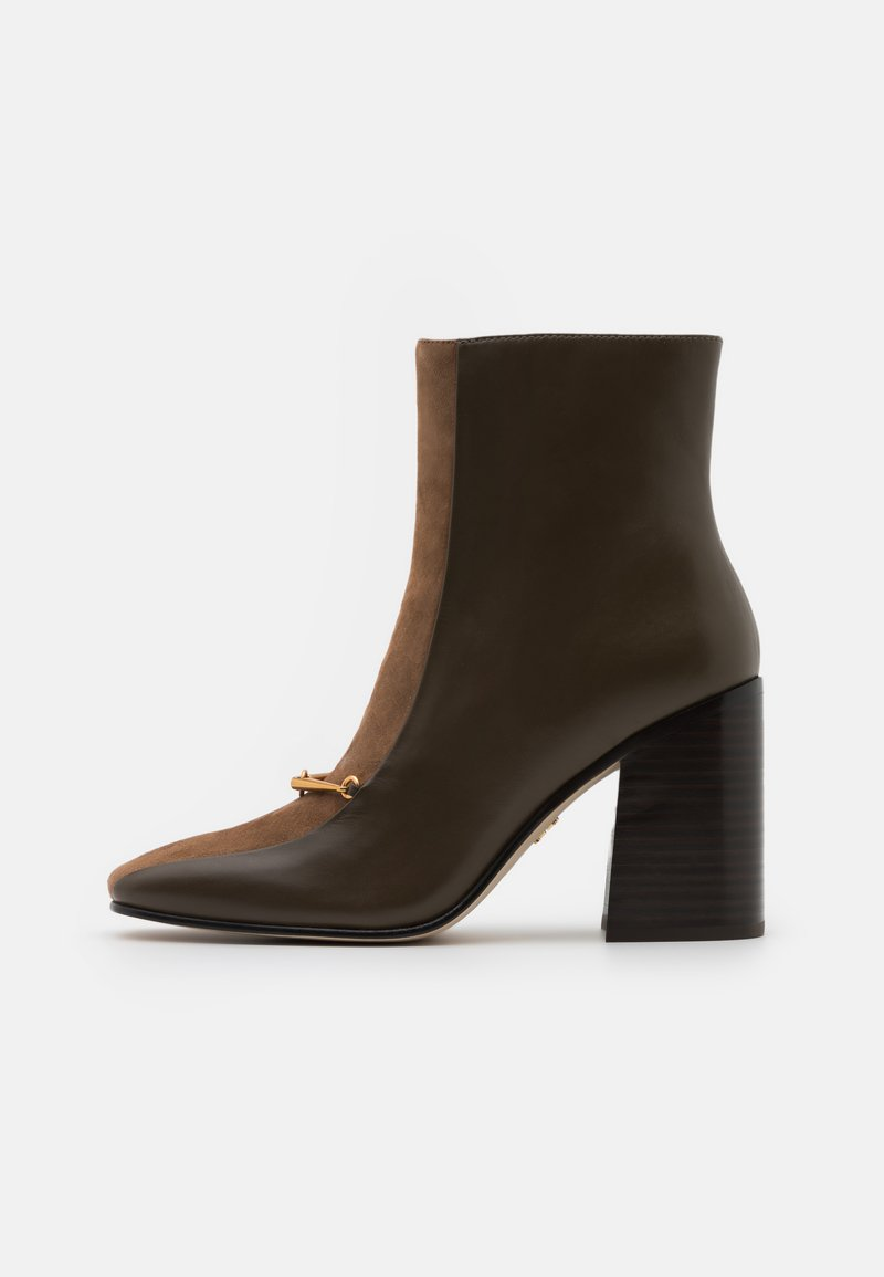 Tory Burch - EQUESTRIAN LINK BOOTIE - Kotníková obuv na vysokém podpatku - burnt taupe/river rock