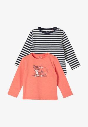 2 PACK - Long sleeved top - orange placed print/black stripes