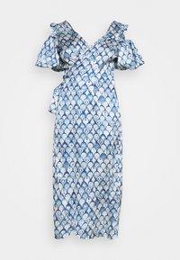 Never Fully Dressed - MARBLE PRINT COLD SHOULDER WRAP - Day dress - blue - 3