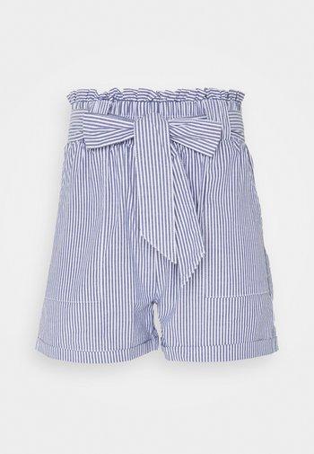 ONLSMILLA STRIPE BELT - Shorts - medium blue denim/white