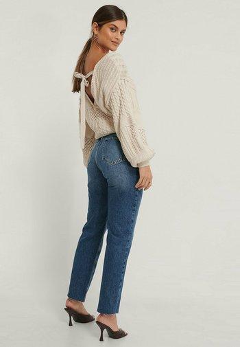 HIGH WAIST RAW - Straight leg jeans - mid blue