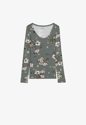 Blouse - light military st.floral bouqu