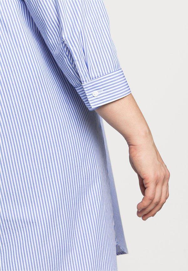 ONLY Carmakoma CARVIGGI LIFE STRIPED - Bluzka - white/blue/biały UASU