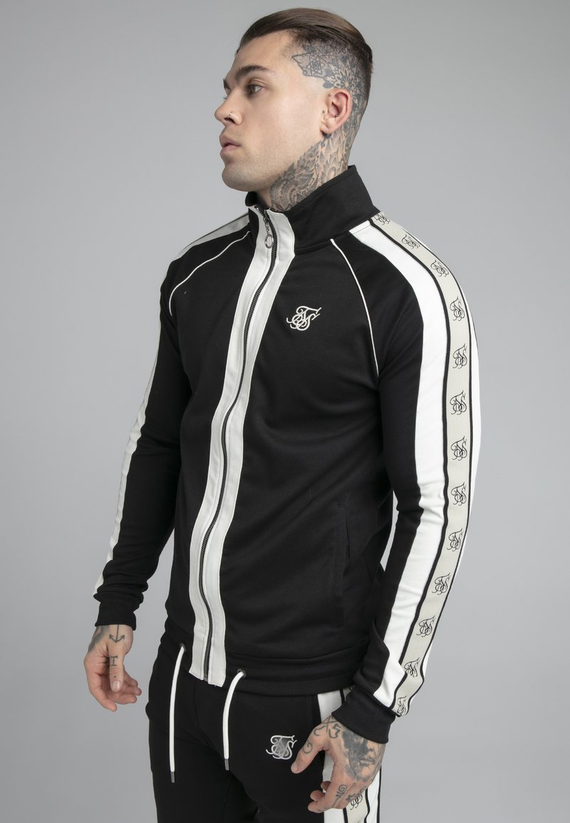 SIKSILK - PREMIUM TAPE FUNNEL ZIP THROUGH HOODIE - Felpa aperta - jet black/off white