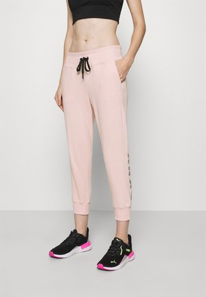 TRACK LOGO - Tracksuit bottoms - rosewater