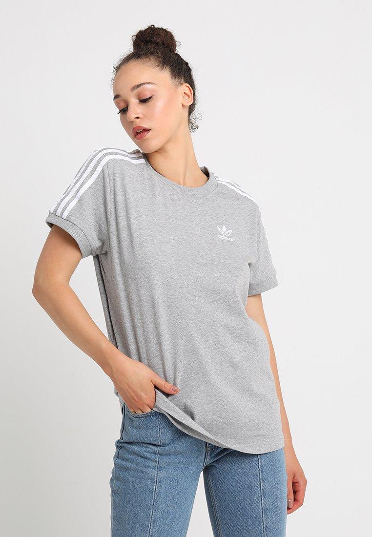 adidas Originals - STRIPES TEE - Print T-shirt - medium grey heather