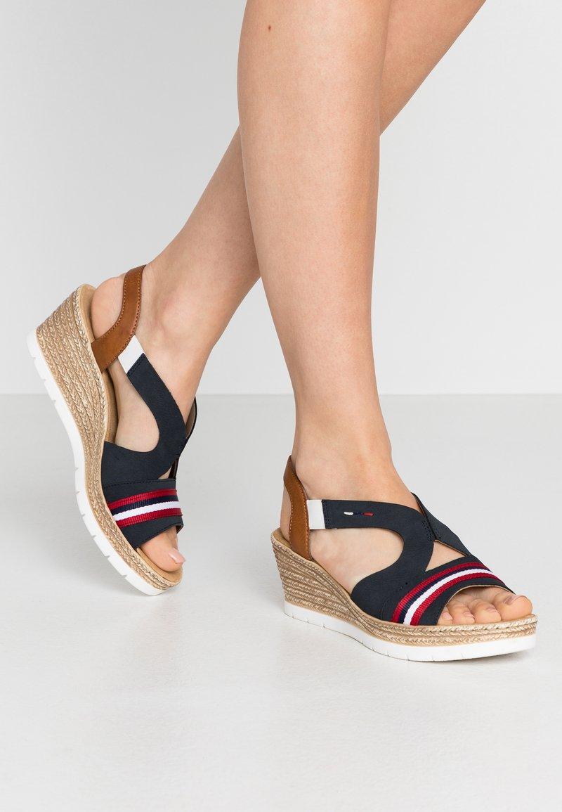 Rieker - Platform sandals - pazifik/cayenne
