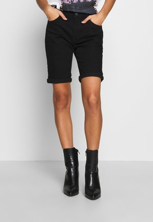 PETITES DENIM KNEE - Denim shorts - black