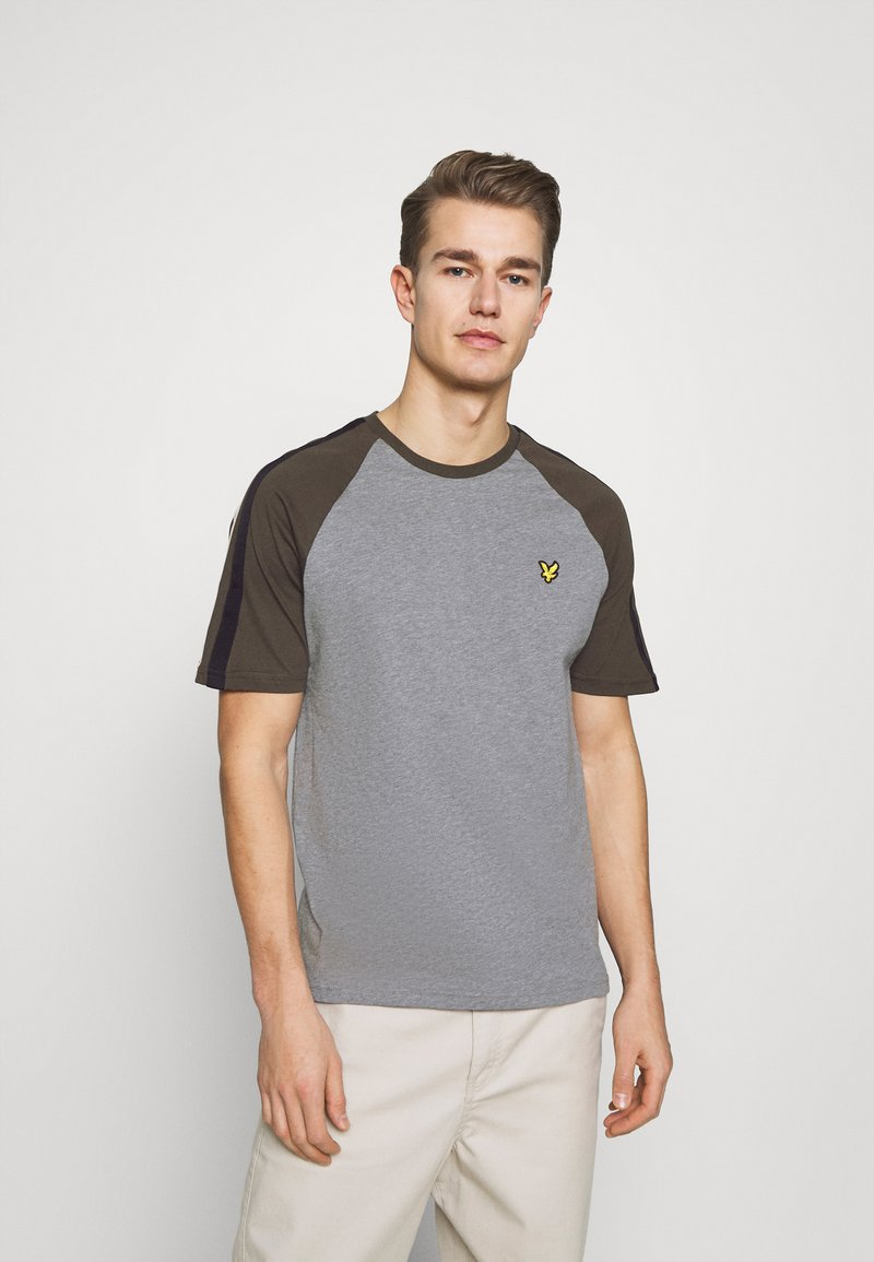 Lyle & Scott - COLOUR BLOCK - T-shirt - bas - mid grey marl