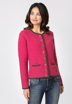 CARO - Strickjacke - fuchsia-anthrazit