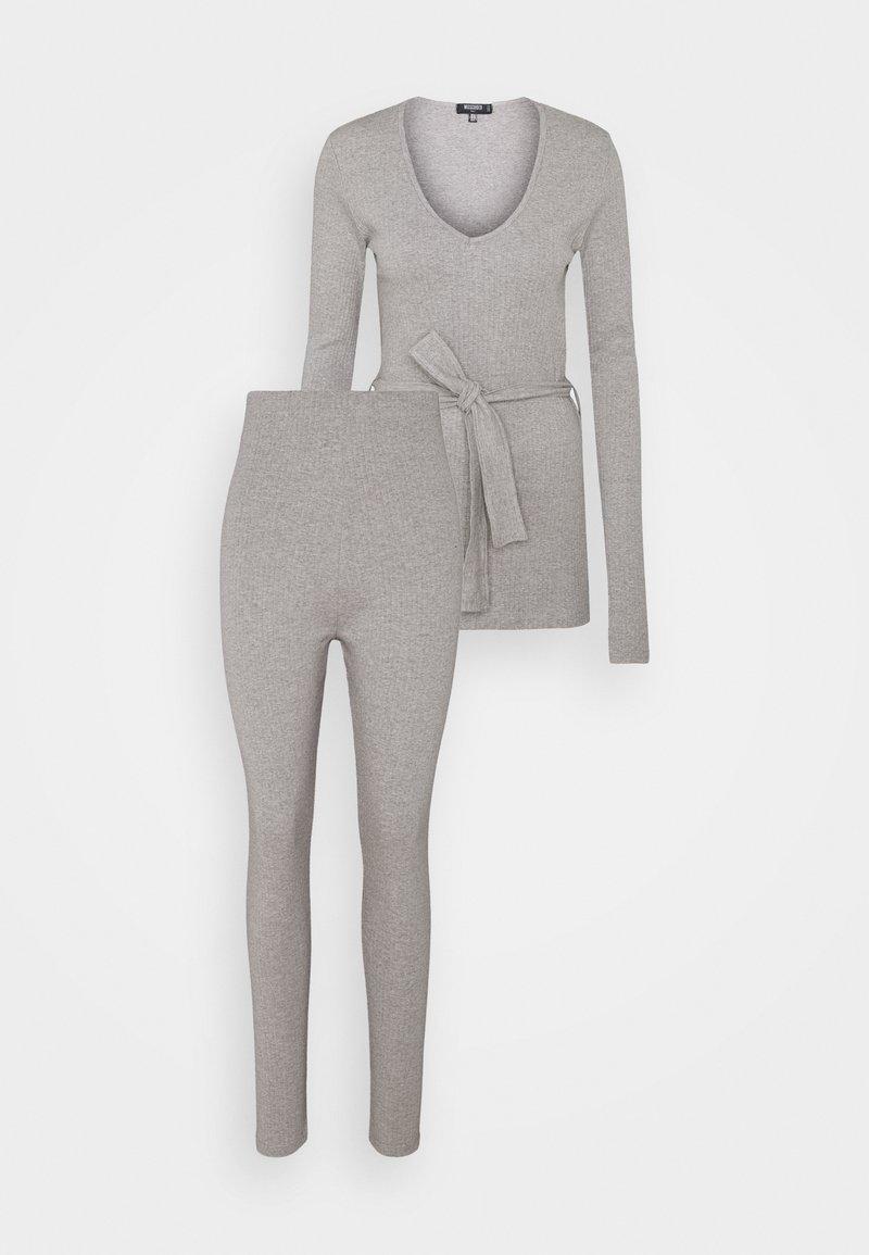 Missguided Tall - TIE WAIST SET - Leggings - Trousers - grey marl