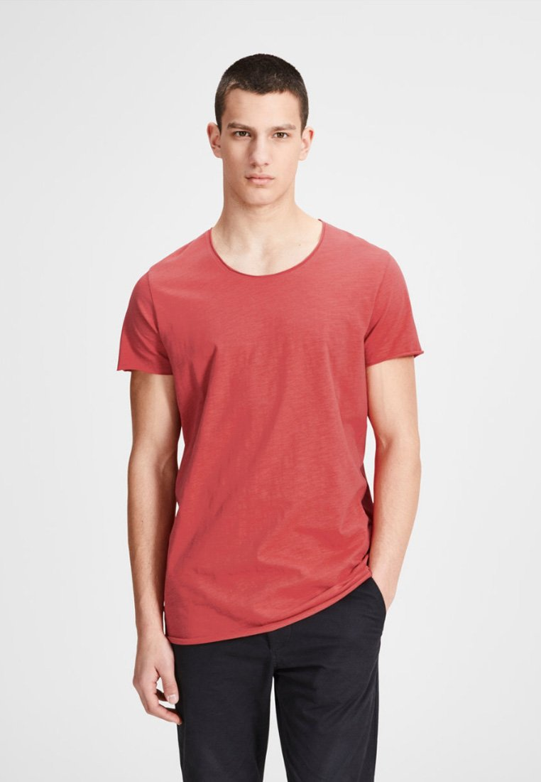 Jack & Jones - JJEBAS TEE - T-shirts basic - dark red