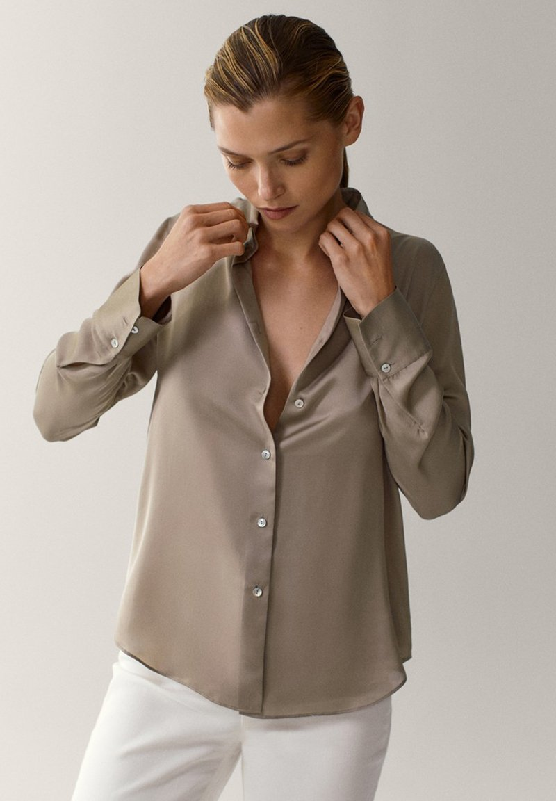 Massimo Dutti - Button-down blouse - beige