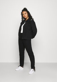 Missguided Plus - LACE UP DETAIL JACKET - Denim jacket - black - 1