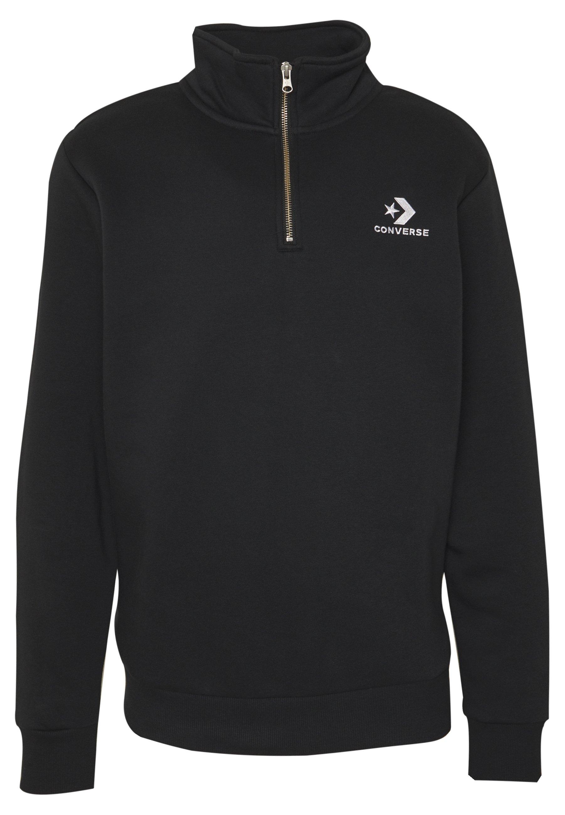 STAR CHEVRON EMBROIDERED HALF ZIP Sweatshirt black