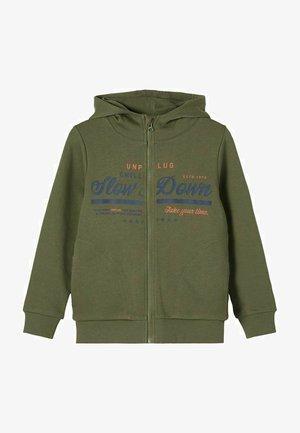 PRINT - Zip-up hoodie - ivy green