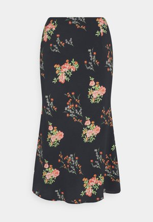 SKIRT FLORAL - Pencil skirt - black/pink