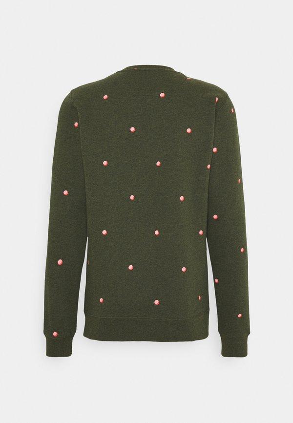 Scotch & Soda CREW NECK WITH SMALL ALLOVER PRINT - Bluza - dark green/light pink/ciemnozielony Odzież Męska CDGK