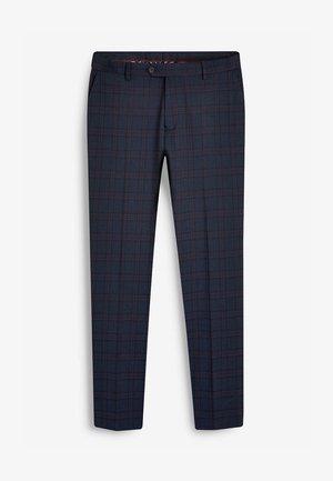 CHECK SUIT: TROUSERS-REGULAR FIT - Suit trousers - blue