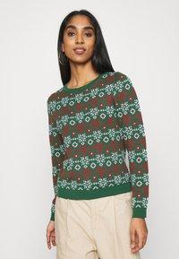 Monki - SOMIA - Jumper - green jaquard knit - 0