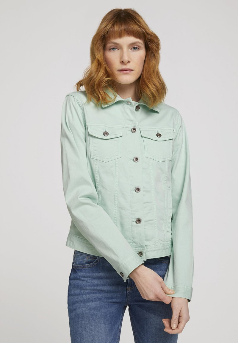 TOM TAILOR - MIT KNITTERDETAILS - Denim jacket - minty green