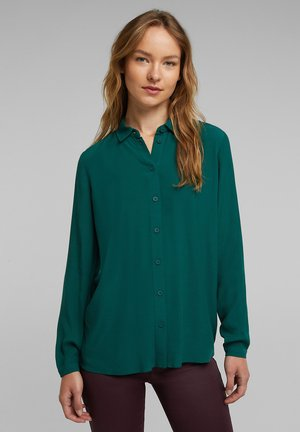 Button-down blouse - dark teal green