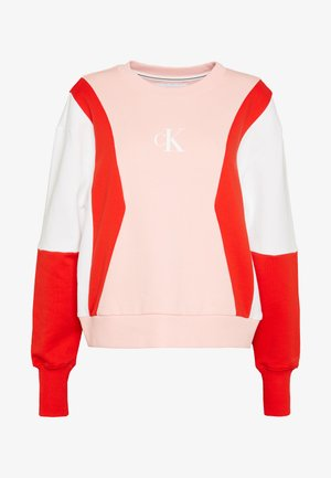 COLOR BLOCK CREW NECK - Sweater - keepsake pink/white /red