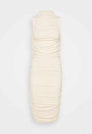 GATHERED SLEEVELESS DRESS - Vestito di maglina - light beige