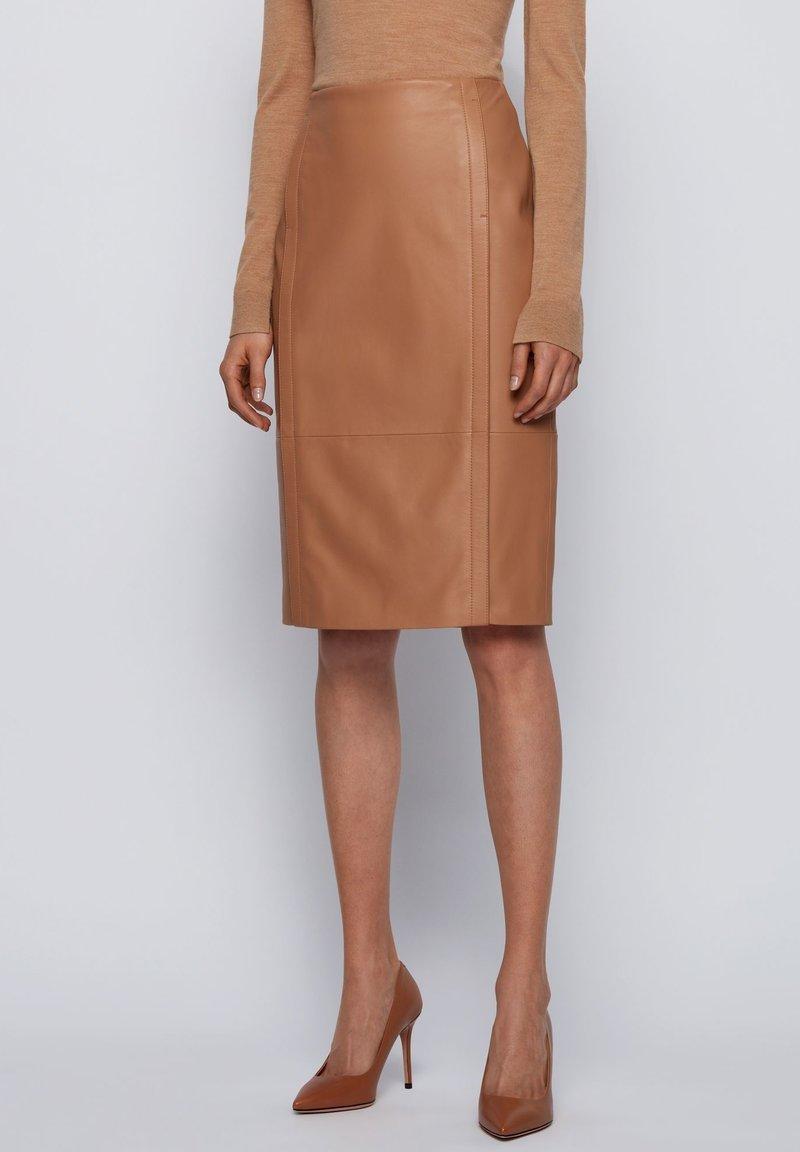 BOSS - SEPASSA - Pencil skirt - light brown