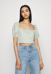 Glamorous - MAYA WITH PUFF SHORT SLEEVES AND LOW NECKLINE - Blouse - mint - 0