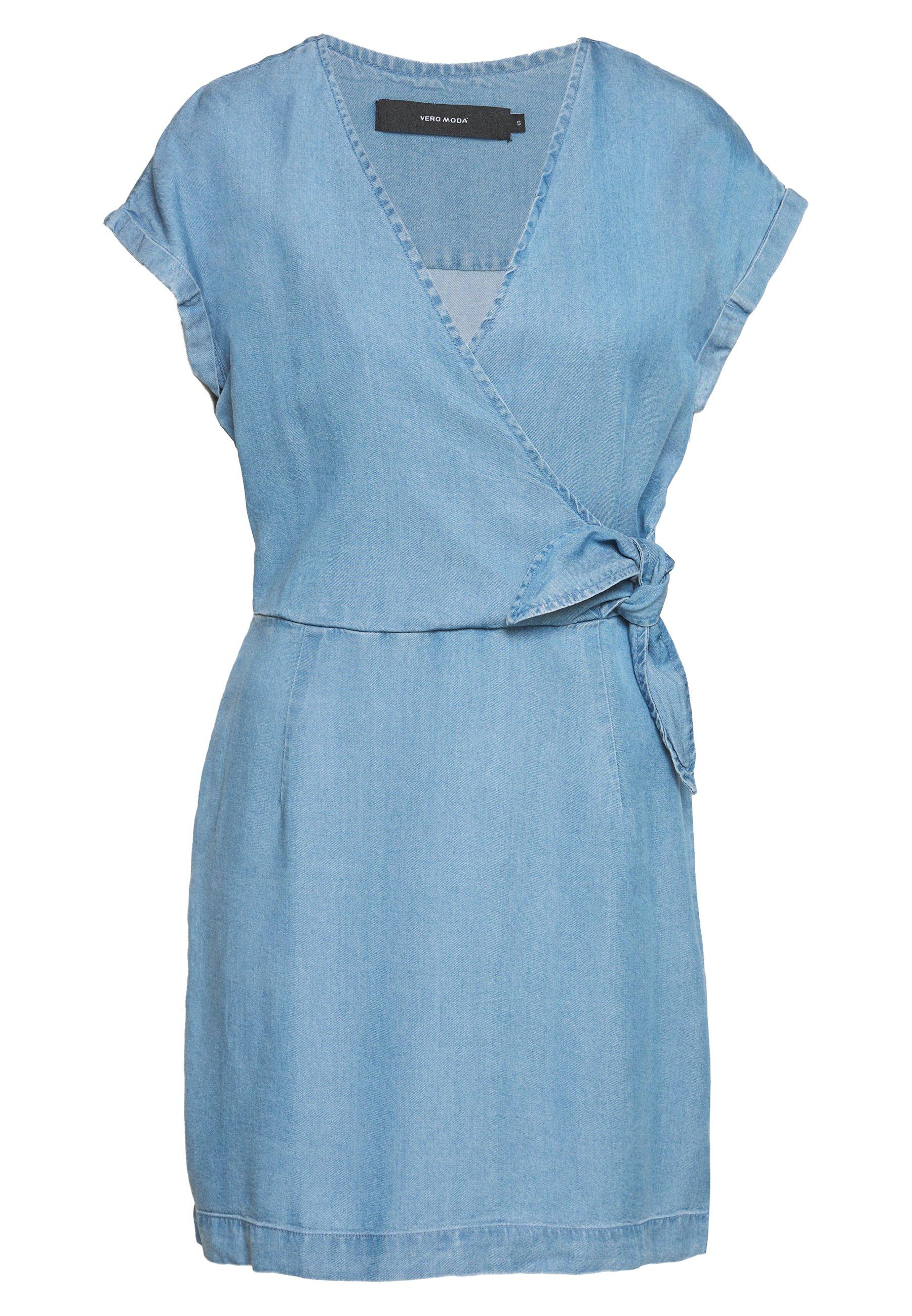 Donna VMLISA SHORT WRAP DRESS - Vestito di jeans