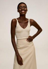 Mango - TINTO-A - Maxi skirt - beige - 3