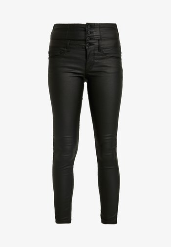 ONLCORAL CORSAGE ROCK COATED - Trousers - black