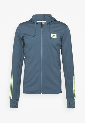 AEROREADY TRAINING SPORTS SLIM HOODED JACKET - Mikina na zip - blue
