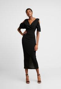WAL G. - MIDI SHOULDER FRILL DRESS - Cocktail dress / Party dress - black - 0