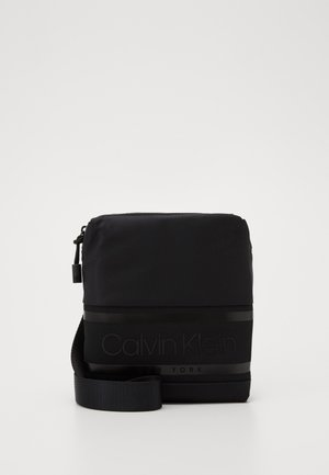 STRIPED LOGO MINI REPORTER - Across body bag - black