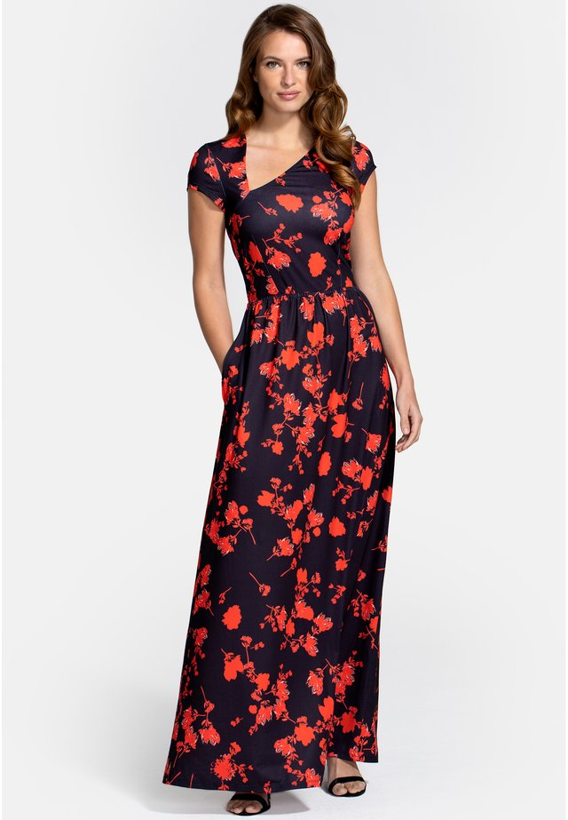 ASYMMETRIC NECKLINE - Długa sukienka - black and red flower