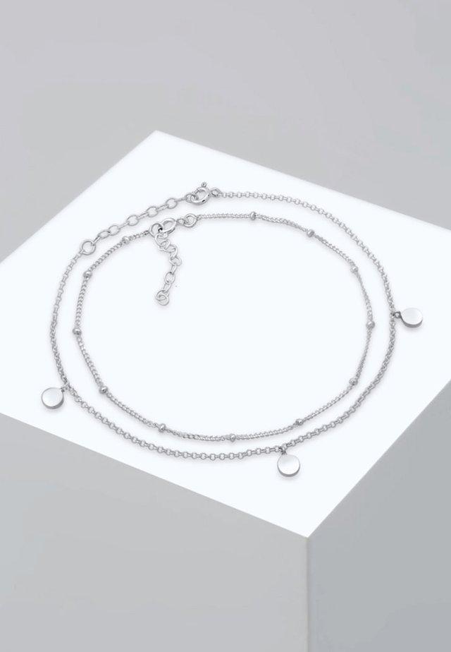 FUSSSCHMUCK DUO SET KUGELKETTE PLÄTTCHEN  - Armband - silver-coloured