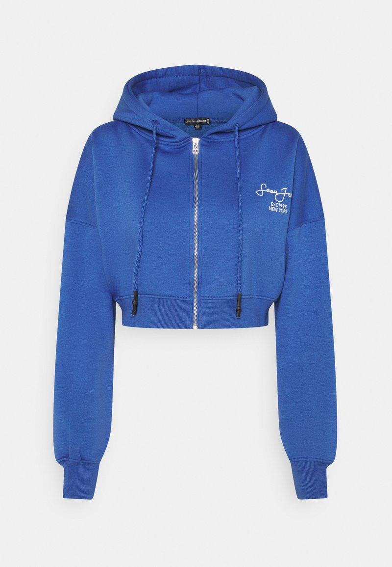Missguided - SJXMG ZIP THROUGH CROP HOODY - Sudadera con cremallera - blue