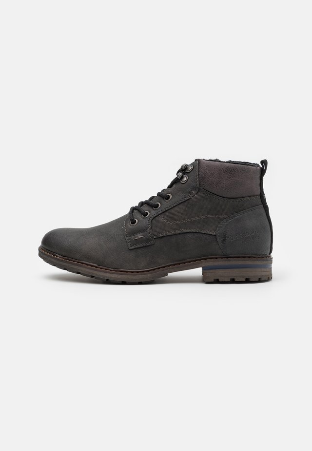 Lace-up ankle boots - coal