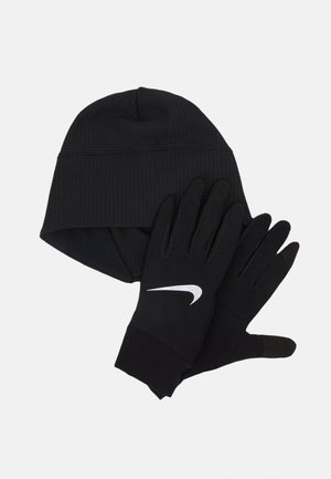 NIKE MEN'S RUN DRY HAT AND GLOVE SET - Gloves - black/black/silver