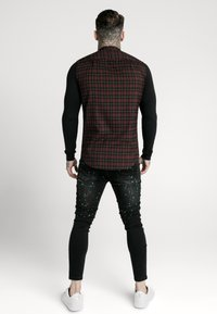 SIKSILK - CHECK GRANDAD - Camicia - burgundy/black - 2