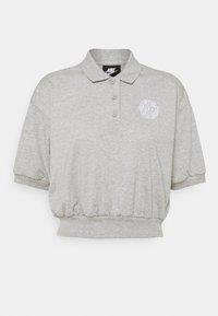 FEMME CROP - Polo - grey heather/matte silver/white